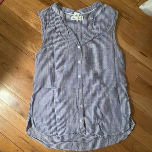 H&M Button Down Blue and White Sleeveless Blouse